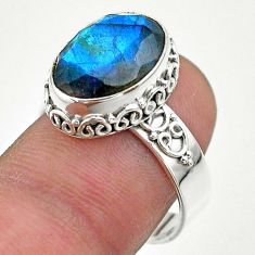 6.83cts faceted natural blue labradorite oval 925 silver ring size 8 t44858