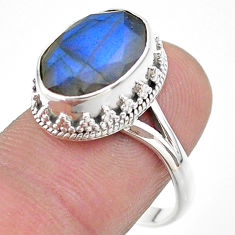 6.83cts faceted natural blue labradorite oval 925 silver ring size 9 t44826