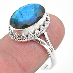 6.48cts faceted natural blue labradorite oval 925 silver ring size 9 t44828