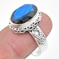 6.26cts faceted natural blue labradorite oval 925 silver ring size 9 t44829