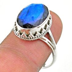 6.58cts faceted natural blue labradorite oval 925 silver ring size 9 t44842