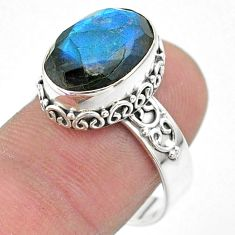 6.76cts faceted natural blue labradorite oval 925 silver ring size 8.5 t44823