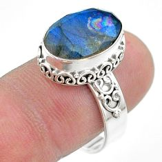 6.80cts faceted natural blue labradorite oval 925 silver ring size 8.5 t44831