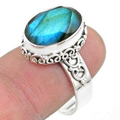 6.48cts faceted natural blue labradorite oval 925 silver ring size 8.5 t44840