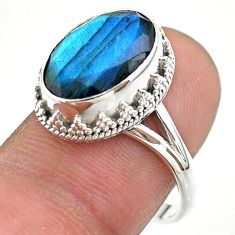 6.30cts faceted natural blue labradorite oval 925 silver ring size 8.5 t44843