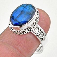 6.58cts faceted natural blue labradorite oval 925 silver ring size 8.5 t44847