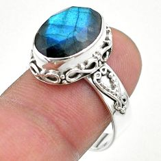 6.48cts faceted natural blue labradorite oval 925 silver ring size 8.5 t44848