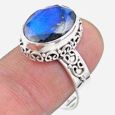 6.58cts faceted natural blue labradorite oval 925 silver ring size 8.5 t44854
