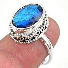 6.80cts faceted natural blue labradorite oval 925 silver ring size 6.5 t44855