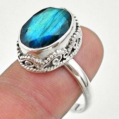 6.45cts faceted natural blue labradorite oval 925 silver ring size 8.5 t44859
