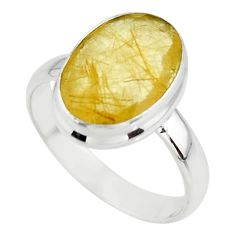 6.39cts faceted natural golden rutile 925 sterling silver ring size 8.5 r51305