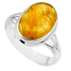 6.39cts faceted natural golden rutile 925 sterling silver ring size 8.5 r51308
