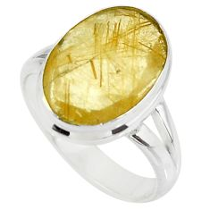 6.39cts faceted natural golden rutile 925 sterling silver ring size 6.5 r51310