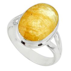5.84cts faceted natural golden rutile 925 sterling silver ring size 6 r51307