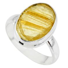 6.04cts faceted natural golden rutile 925 sterling silver ring size 7 r51311