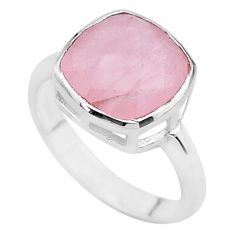 5.80cts faceted natural pink rose quartz 925 silver handmade ring size 7 t12160