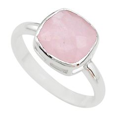6.13cts faceted natural pink rose quartz cushion 925 silver ring size 9 t12190