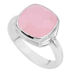 5.84cts faceted natural pink rose quartz cushion silver ring size 8.5 t12153