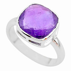 5.50cts faceted natural purple amethyst 925 sterling silver ring size 6 t12128