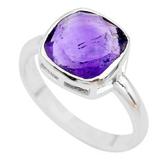 5.80cts faceted natural purple amethyst 925 sterling silver ring size 8 t12125