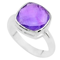 5.54cts faceted natural purple amethyst 925 sterling silver ring size 9 t12142