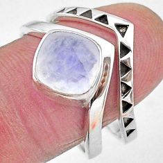 3.29cts faceted natural rainbow moonstone 925 silver 2 rings size 8.5 t12193