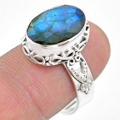 6.83cts faceted vnatural blue labradorite oval 925 silver ring size 8.5 t44835