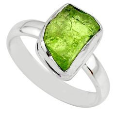 Fancy silver 6.03cts natural green peridot rough solitaire ring size 8 r64075