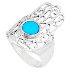 4.48gms fine blue turquoise 925 silver hand of god hamsa ring size 8.5 c12742
