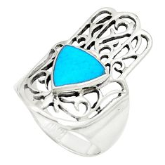 Fine blue turquoise 925 silver hand of god hamsa ring size 7.5 c12759