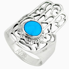 Fine blue turquoise 925 silver hand of god hamsa ring jewelry size 6.5 c12099