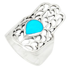 Fine blue turquoise 925 silver hand of god hamsa ring jewelry size 5.5 c12729