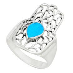 Fine blue turquoise 925 silver hand of god hamsa ring jewelry size 8.5 c21647