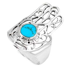 Fine blue turquoise 925 silver hand of god hamsa ring jewelry size 7 c12091