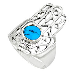Fine blue turquoise 925 silver hand of god hamsa ring jewelry size 7 c12092
