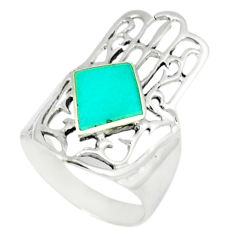 4.02gms fine blue turquoise 925 silver hand of god hamsa ring size 6 c11967