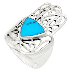 Fine blue turquoise 925 silver hand of god hamsa ring size 6 c12751