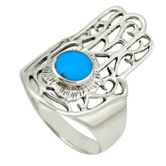 Fine blue turquoise 925 silver hand of god hamsa ring size 9 c12084