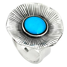 Fine blue turquoise 925 sterling silver adjustable ring handmade size 6 c22355