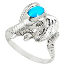 Fine blue turquoise 925 sterling silver elephant ring size 7.5 c12217