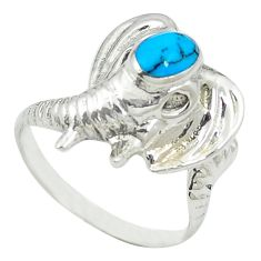 Fine blue turquoise 925 sterling silver elephant ring jewelry size 7.5 c11886