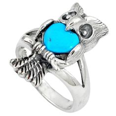 Fine blue turquoise 925 sterling silver owl ring jewelry size 6.5 c12250