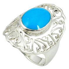 Fine blue turquoise 925 sterling silver ring jewelry size 7.5 c12021