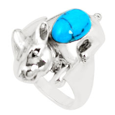 Fine blue turquoise 925 sterling silver ring jewelry size 6.5 c12239