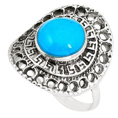 2.56cts fine blue turquoise 925 sterling silver ring jewelry size 5.5 c12348