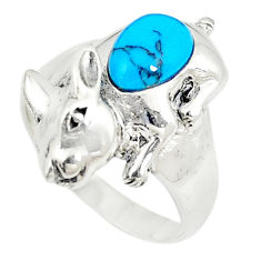 Fine blue turquoise 925 sterling silver ring jewelry size 7.5 c21918