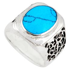 5.07cts fine blue turquoise 925 sterling silver ring jewelry size 7.5 c26171