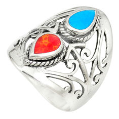 Fine blue turquoise coral 925 sterling silver ring jewelry size 6.5 c12307