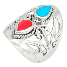 2.35cts fine blue turquoise coral 925 sterling silver ring jewelry size 6 c12308
