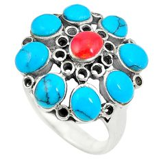 Fine blue turquoise coral 925 sterling silver ring jewelry size 6 c12432